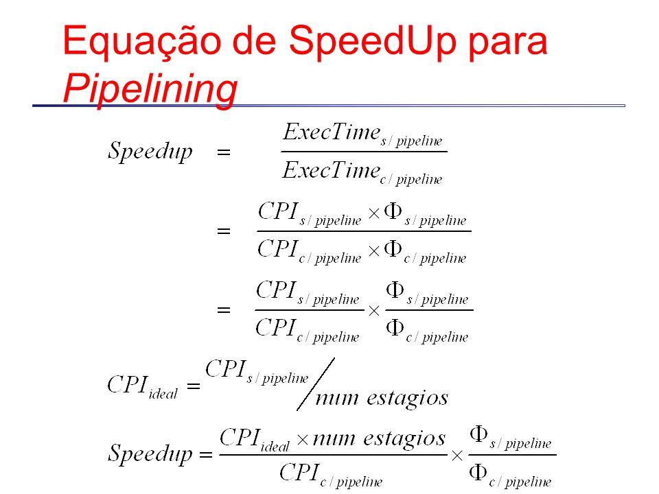Equação de SpeedUp para Pipelining
