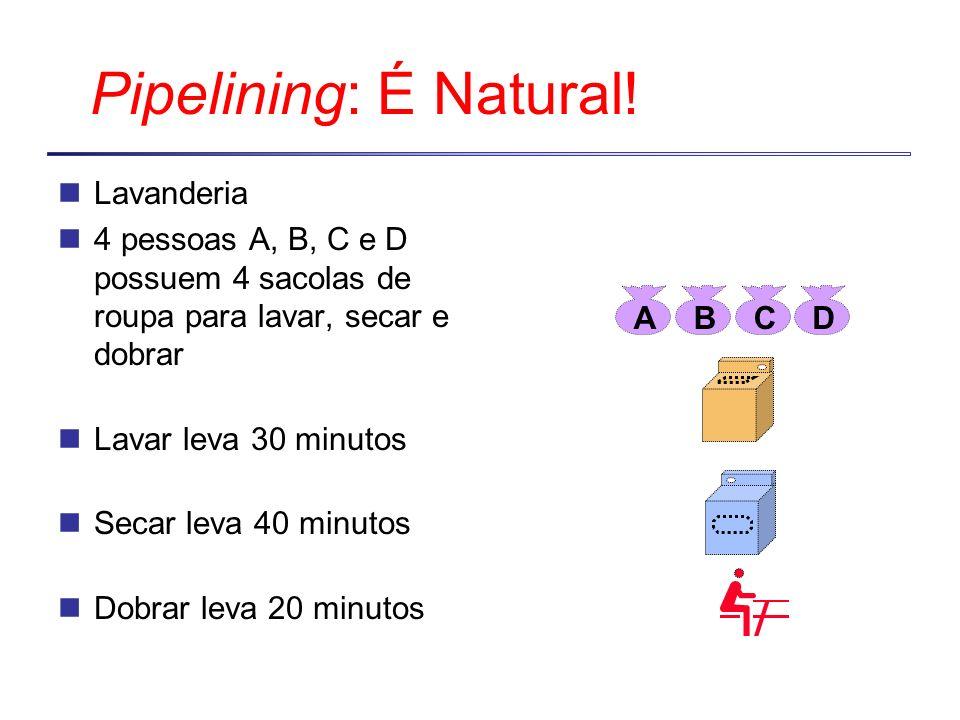 Pipelining: É Natural! Lavanderia 4 pessoas A, B, C e D possuem 4 sacolas de roupa para lavar, secar e dobrar Lavar leva 30 minutos Secar leva 40 minu