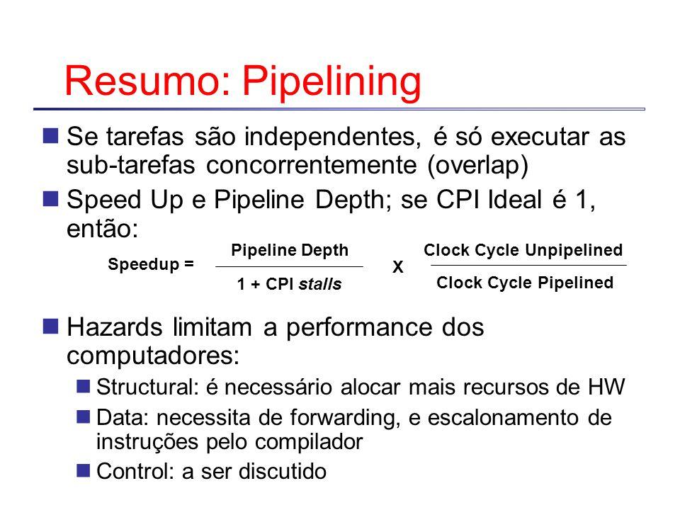 Resumo: Pipelining Se tarefas são independentes, é só executar as sub-tarefas concorrentemente (overlap) Speed Up e Pipeline Depth; se CPI Ideal é 1,