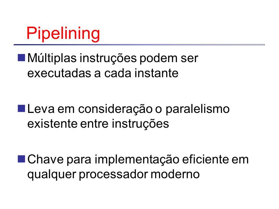 Pipelining Múltiplas instruções podem ser executadas a cada instante Leva em consideração o paralelismo existente entre instruções Chave para implemen