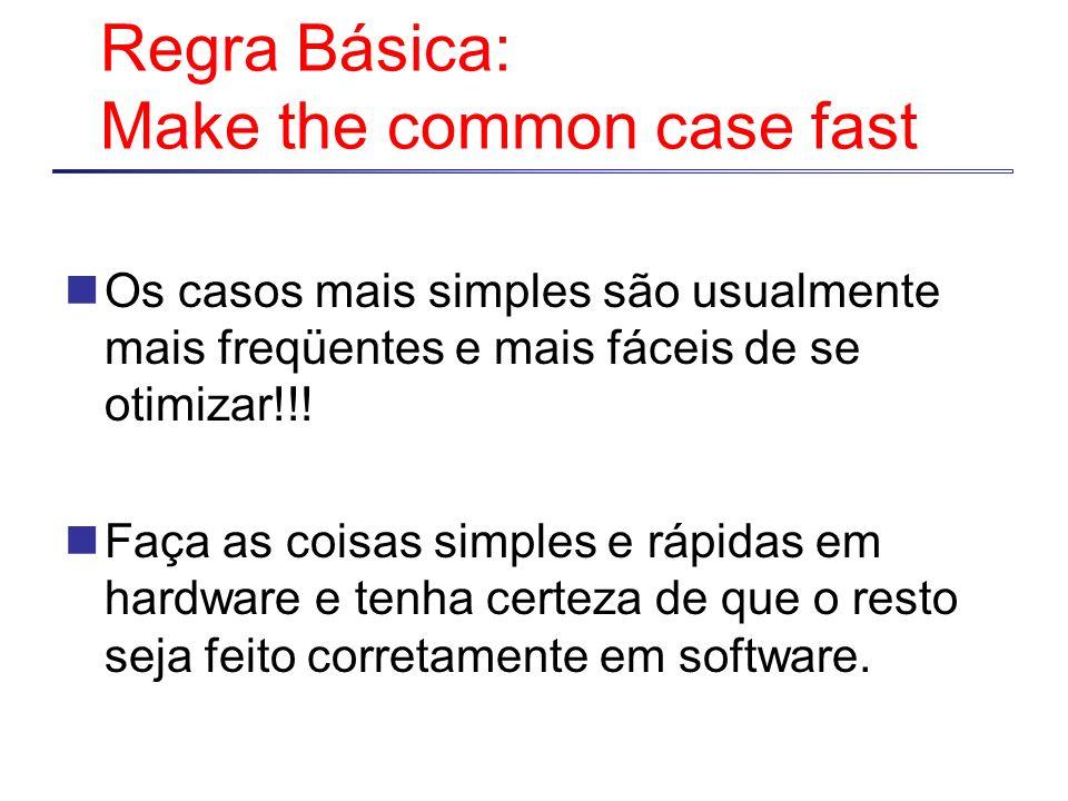 Regra Básica: Make the common case fast Os casos mais simples são usualmente mais freqüentes e mais fáceis de se otimizar!!! Faça as coisas simples e