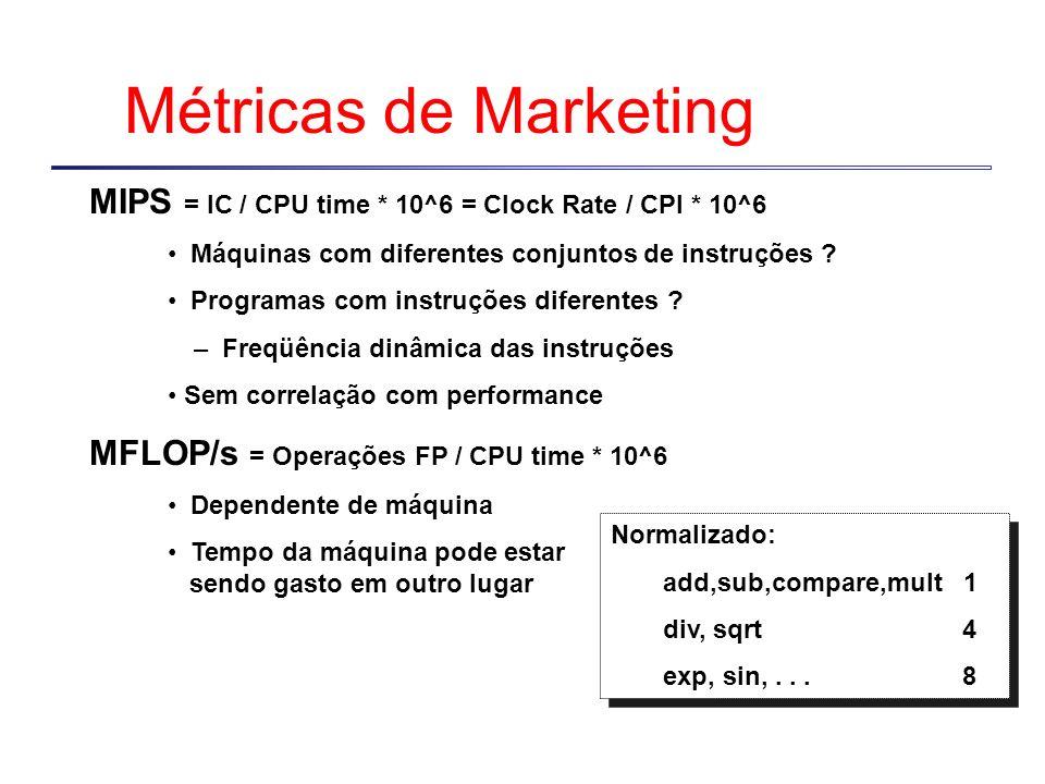 Métricas de Marketing MIPS = IC / CPU time * 10^6 = Clock Rate / CPI * 10^6 Máquinas com diferentes conjuntos de instruções ? Programas com instruções
