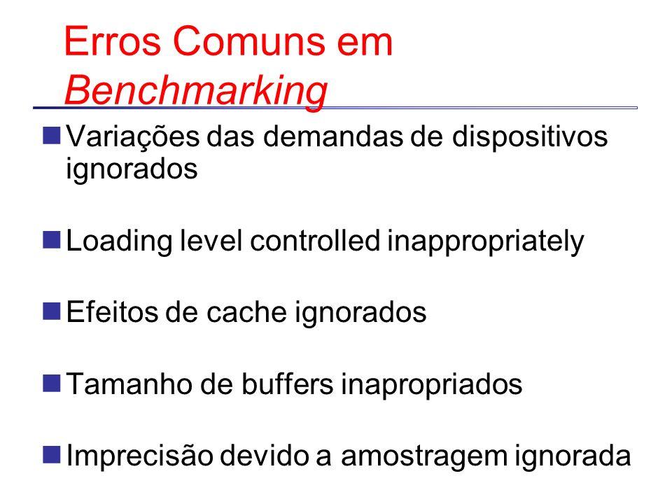 Erros Comuns em Benchmarking Variações das demandas de dispositivos ignorados Loading level controlled inappropriately Efeitos de cache ignorados Tama