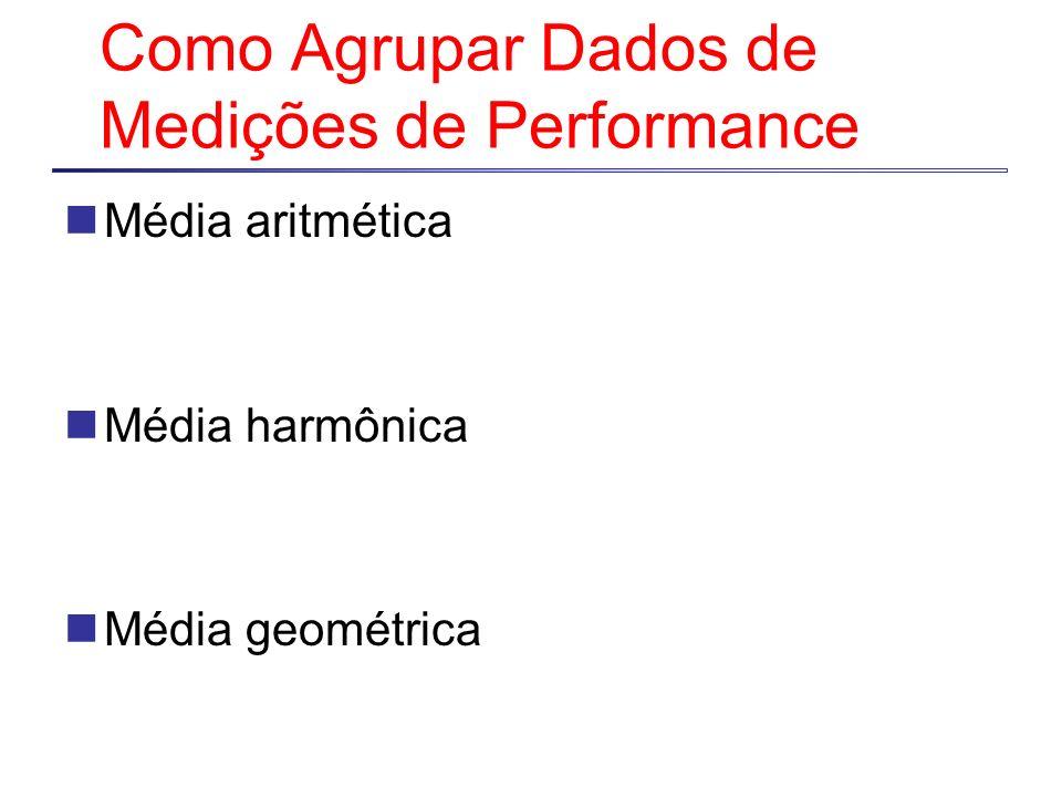 Como Agrupar Dados de Medições de Performance Média aritmética Média harmônica Média geométrica