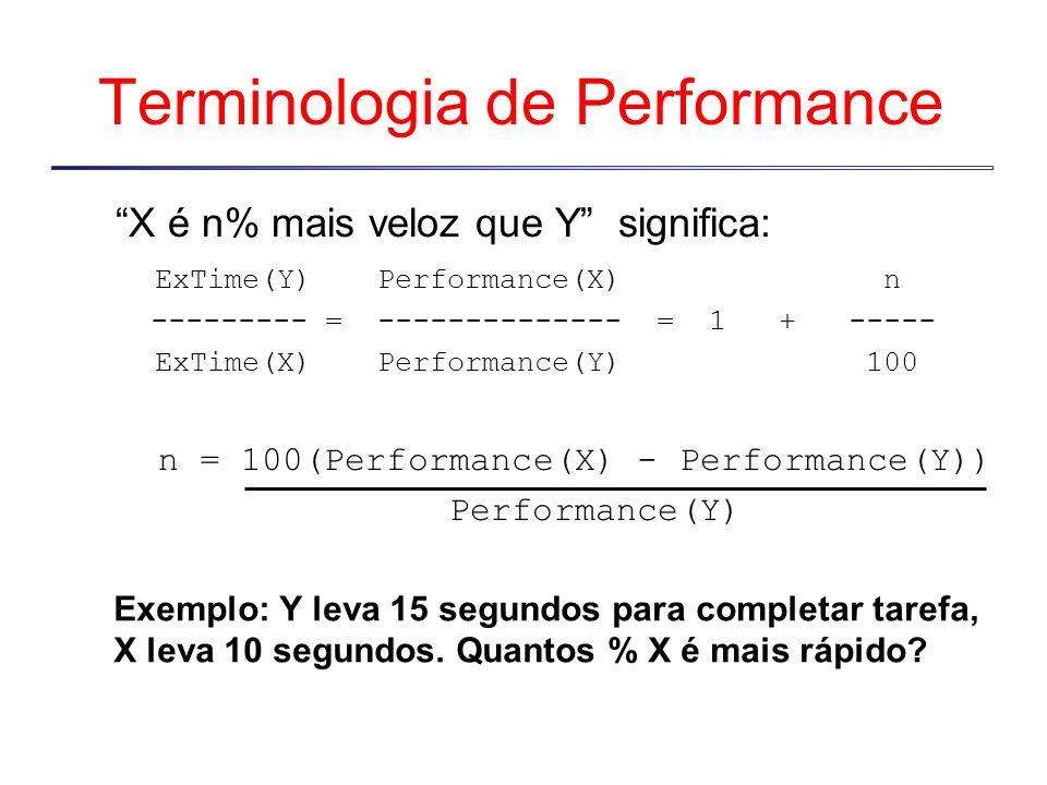 Terminologia de Performance X é n% mais veloz que Y significa: ExTime(Y) Performance(X) n --------- =-------------- = 1 + ----- ExTime(X)Performance(Y