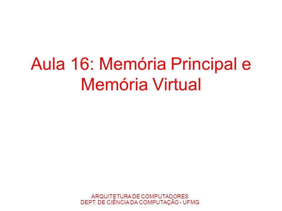 ARQUITETURA DE COMPUTADORES DEPT. DE CIÊNCIA DA COMPUTAÇÃO - UFMG Aula 16: Memória Principal e Memória Virtual
