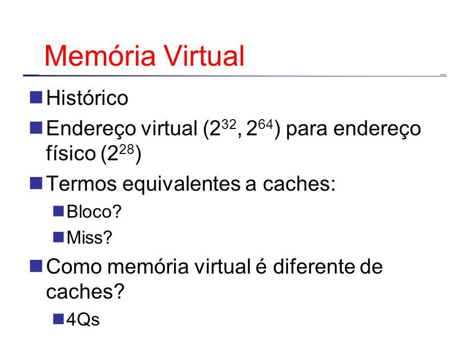 Memória Virtual Histórico Endereço virtual (2 32, 2 64 ) para endereço físico (2 28 ) Termos equivalentes a caches: Bloco? Miss? Como memória virtual