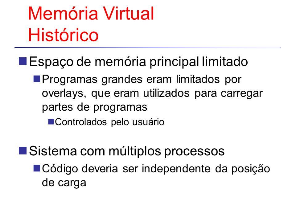 Memória Virtual Histórico Espaço de memória principal limitado Programas grandes eram limitados por overlays, que eram utilizados para carregar partes