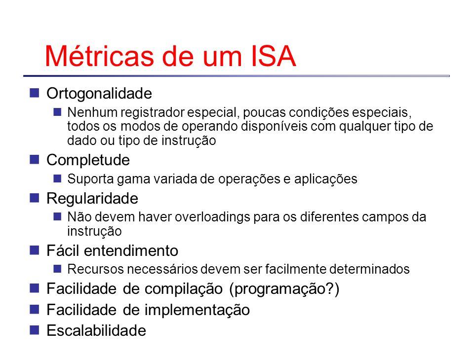 Métricas de um ISA Ortogonalidade Nenhum registrador especial, poucas condições especiais, todos os modos de operando disponíveis com qualquer tipo de