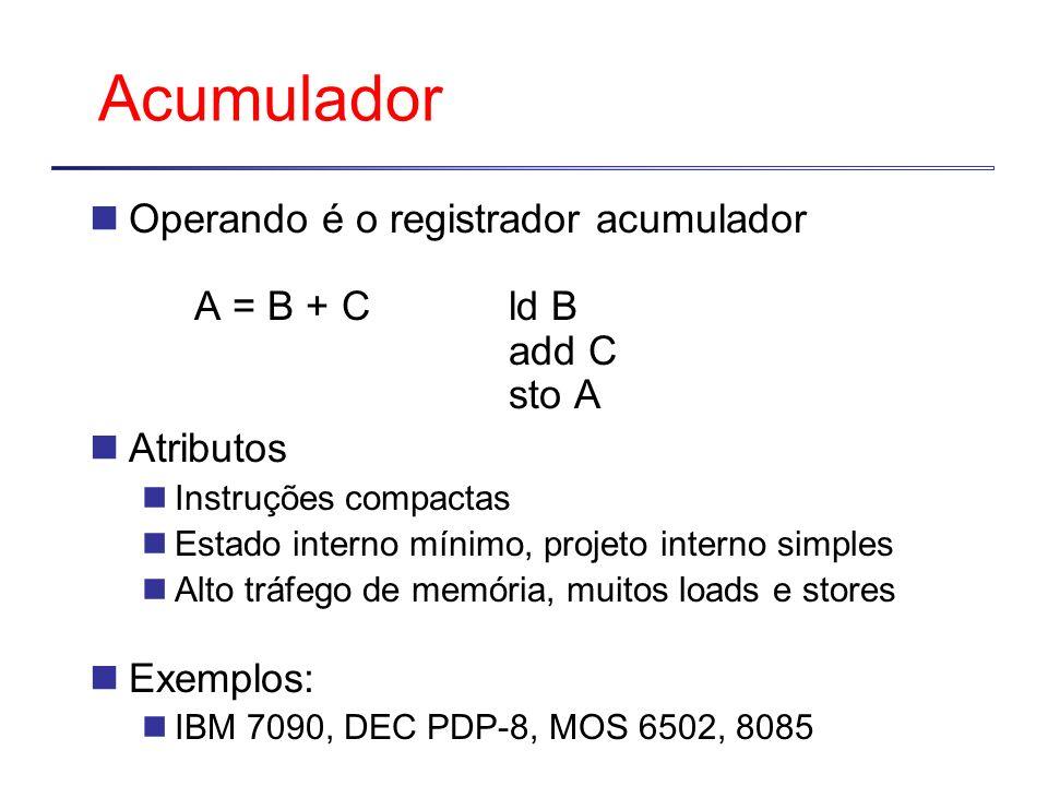 Acumulador Operando é o registrador acumulador A = B + Cld B add C sto A Atributos Instruções compactas Estado interno mínimo, projeto interno simples Alto tráfego de memória, muitos loads e stores Exemplos: IBM 7090, DEC PDP-8, MOS 6502, 8085
