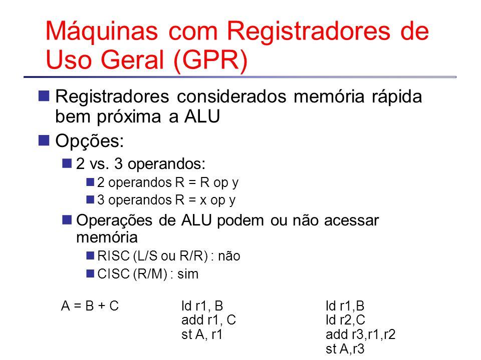 Máquinas com Registradores de Uso Geral (GPR) Registradores considerados memória rápida bem próxima a ALU Opções: 2 vs. 3 operandos: 2 operandos R = R