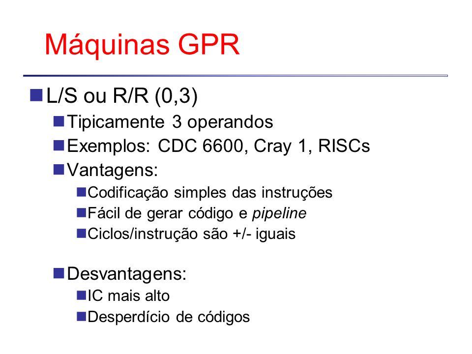 Máquinas GPR L/S ou R/R (0,3) Tipicamente 3 operandos Exemplos: CDC 6600, Cray 1, RISCs Vantagens: Codificação simples das instruções Fácil de gerar código e pipeline Ciclos/instrução são +/- iguais Desvantagens: IC mais alto Desperdício de códigos