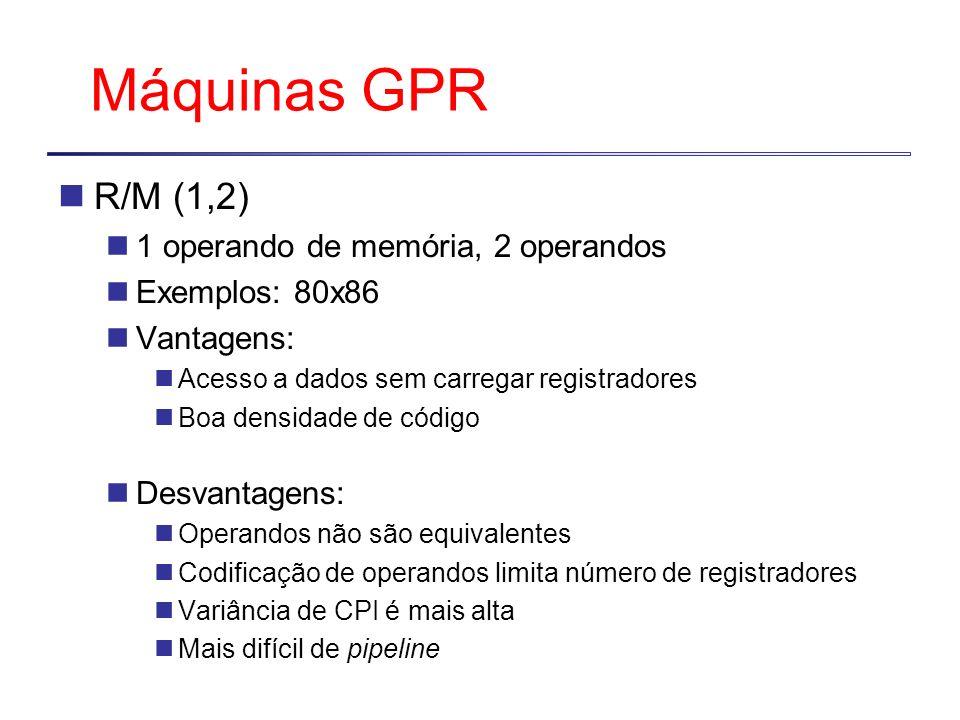 Máquinas GPR R/M (1,2) 1 operando de memória, 2 operandos Exemplos: 80x86 Vantagens: Acesso a dados sem carregar registradores Boa densidade de código Desvantagens: Operandos não são equivalentes Codificação de operandos limita número de registradores Variância de CPI é mais alta Mais difícil de pipeline