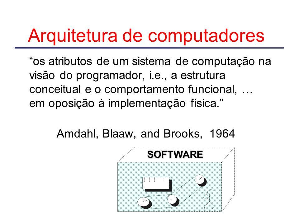 Arquitetura de computadores os atributos de um sistema de computação na visão do programador, i.e., a estrutura conceitual e o comportamento funcional, … em oposição à implementação física.