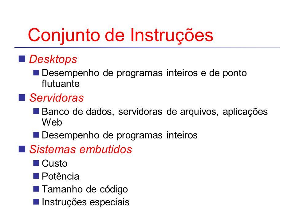 Conjunto de Instruções Desktops Desempenho de programas inteiros e de ponto flutuante Servidoras Banco de dados, servidoras de arquivos, aplicações Web Desempenho de programas inteiros Sistemas embutidos Custo Potência Tamanho de código Instruções especiais