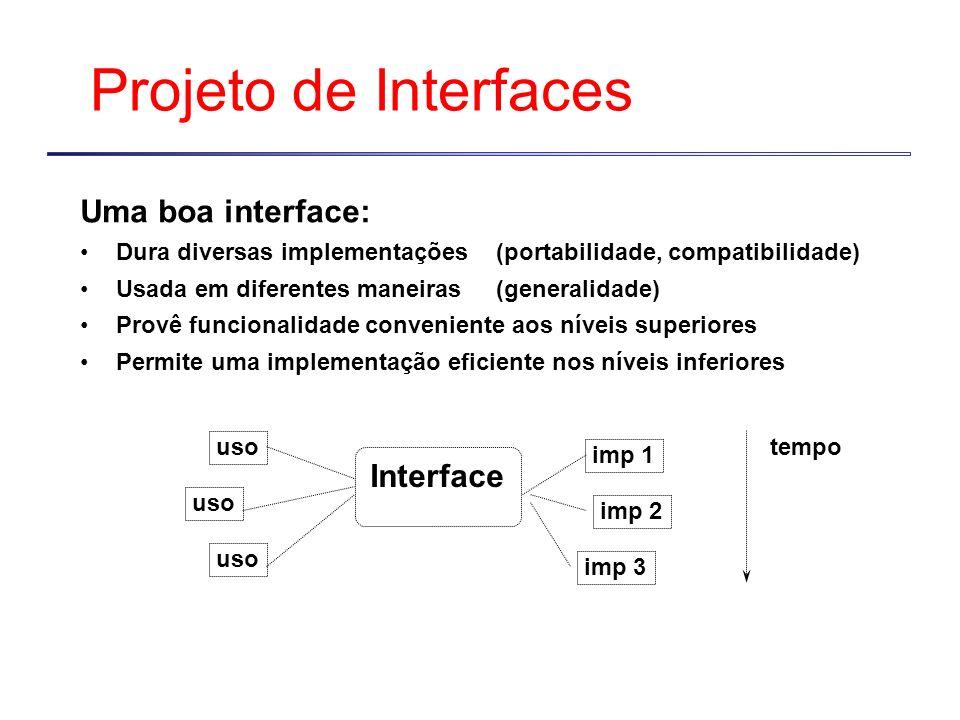 Projeto de Interfaces Uma boa interface: Dura diversas implementações (portabilidade, compatibilidade) Usada em diferentes maneiras (generalidade) Provê funcionalidade conveniente aos níveis superiores Permite uma implementação eficiente nos níveis inferiores Interface imp 1 imp 2 imp 3 uso tempo