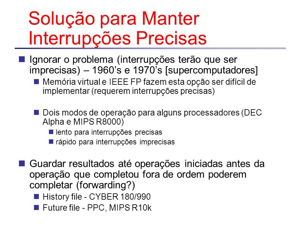 Solução para Manter Interrupções Precisas Ignorar o problema (interrupções terão que ser imprecisas) – 1960s e 1970s [supercomputadores] Memória virtu