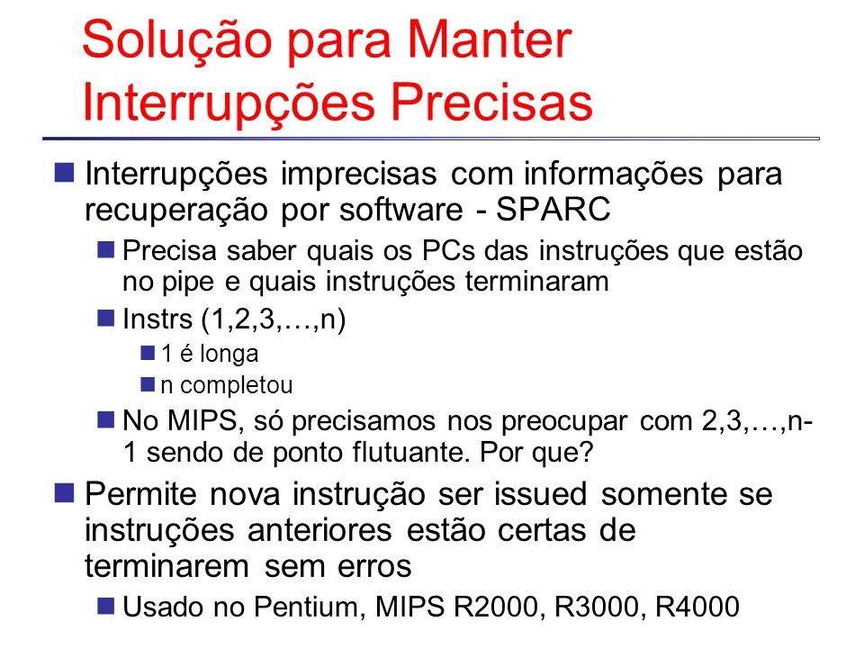 Solução para Manter Interrupções Precisas Interrupções imprecisas com informações para recuperação por software - SPARC Precisa saber quais os PCs das