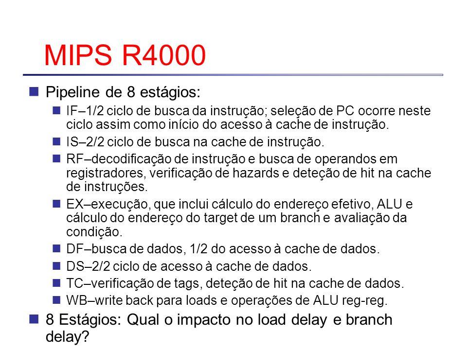 MIPS R4000 Pipeline de 8 estágios: IF–1/2 ciclo de busca da instrução; seleção de PC ocorre neste ciclo assim como início do acesso à cache de instruç