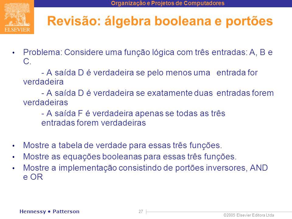Organização e Projetos de Computadores ©2005 Elsevier Editora Ltda Hennessy Patterson 27 Revisão: álgebra booleana e portões Problema: Considere uma f