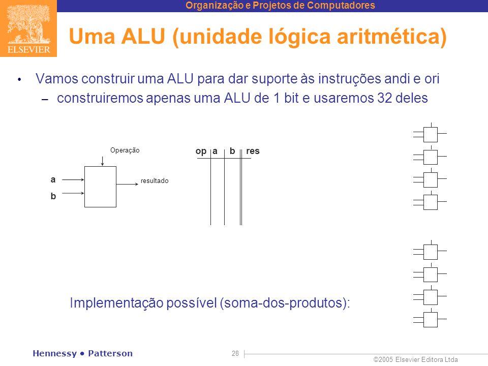 Organização e Projetos de Computadores ©2005 Elsevier Editora Ltda Hennessy Patterson 28 Uma ALU (unidade lógica aritmética) Vamos construir uma ALU p