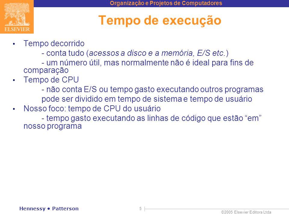 Organização e Projetos de Computadores ©2005 Elsevier Editora Ltda Hennessy Patterson 5 Tempo de execução Tempo decorrido - conta tudo (acessos a disc