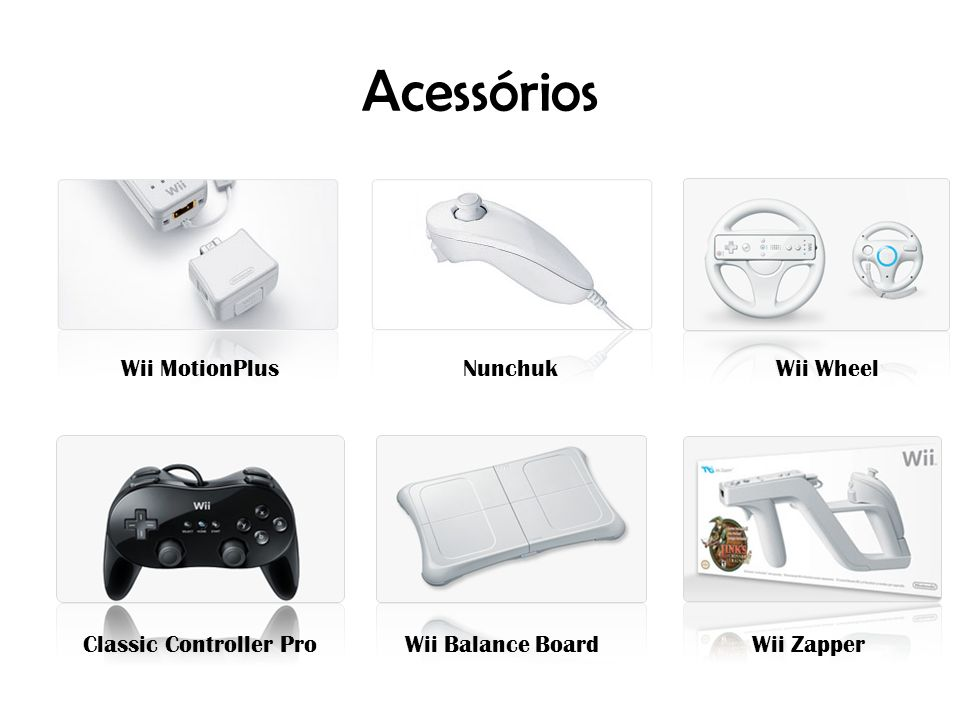Acessórios Wii MotionPlusNunchukWii Wheel Classic Controller ProWii Balance BoardWii Zapper