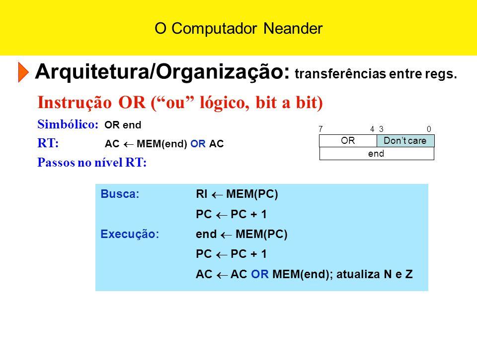 O Computador Neander Arquitetura/Organização: transferências entre regs. Instrução OR (ou lógico, bit a bit) Simbólico: OR end RT: AC MEM(end) OR AC P