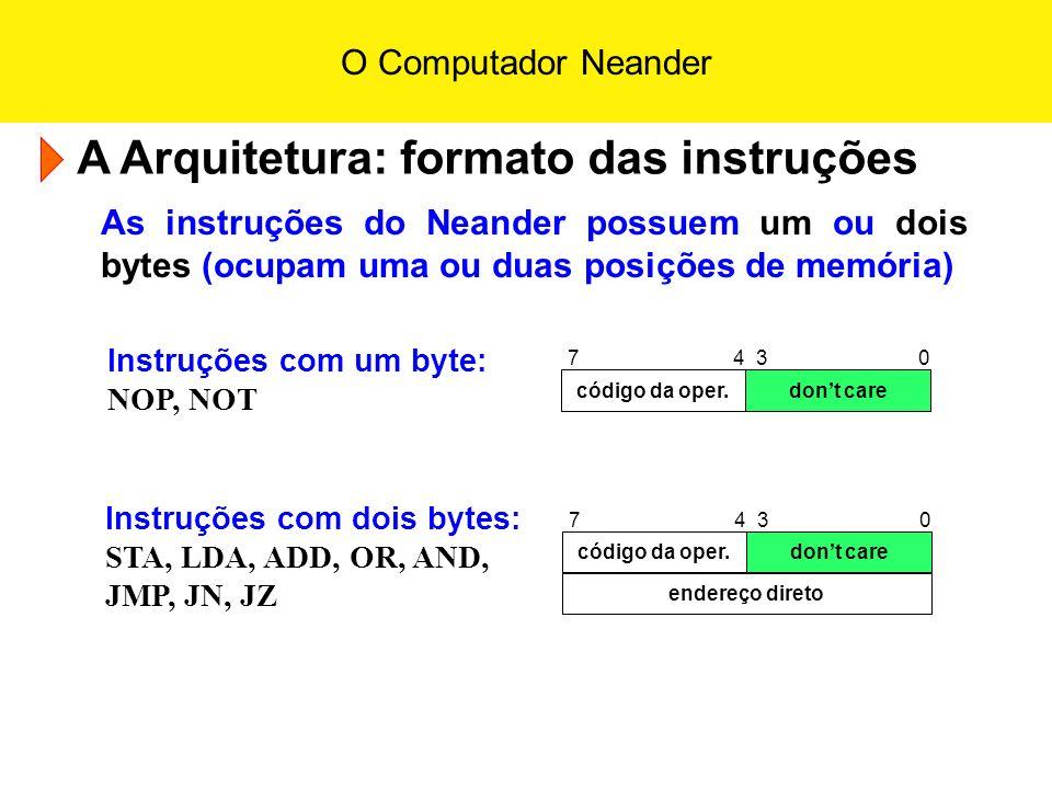 O Computador Neander A Arquitetura: formato das instruções As instruções do Neander possuem um ou dois bytes (ocupam uma ou duas posições de memória)