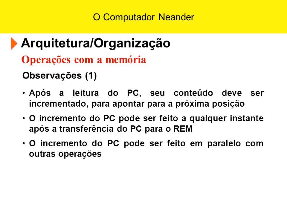 O Computador Neander Arquitetura/Organização Operações com a memória Observações (1) Após a leitura do PC, seu conteúdo deve ser incrementado, para ap
