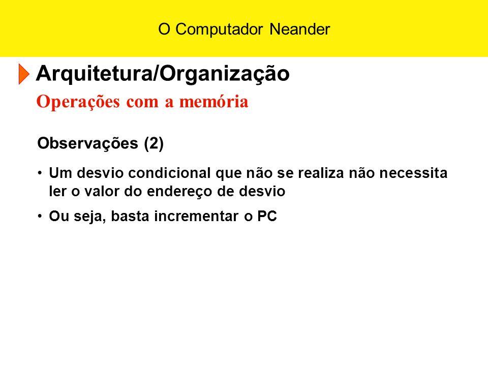 O Computador Neander Arquitetura/Organização Operações com a memória Observações (2) Um desvio condicional que não se realiza não necessita ler o valo
