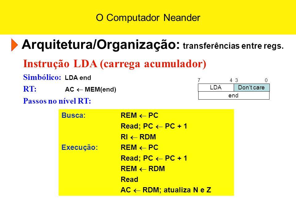 O Computador Neander Arquitetura/Organização: transferências entre regs. Instrução LDA (carrega acumulador) Simbólico: LDA end RT: AC MEM(end) Passos