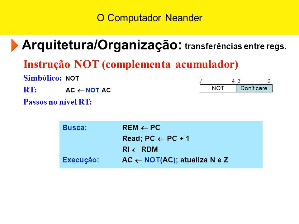 O Computador Neander Arquitetura/Organização: transferências entre regs. Instrução NOT (complementa acumulador) Simbólico: NOT RT: AC NOT AC Passos no