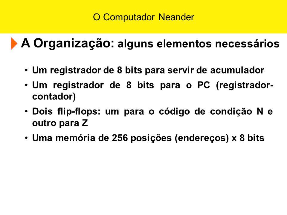 O Computador Neander A Organização: alguns elementos necessários Um registrador de 8 bits para servir de acumulador Um registrador de 8 bits para o PC