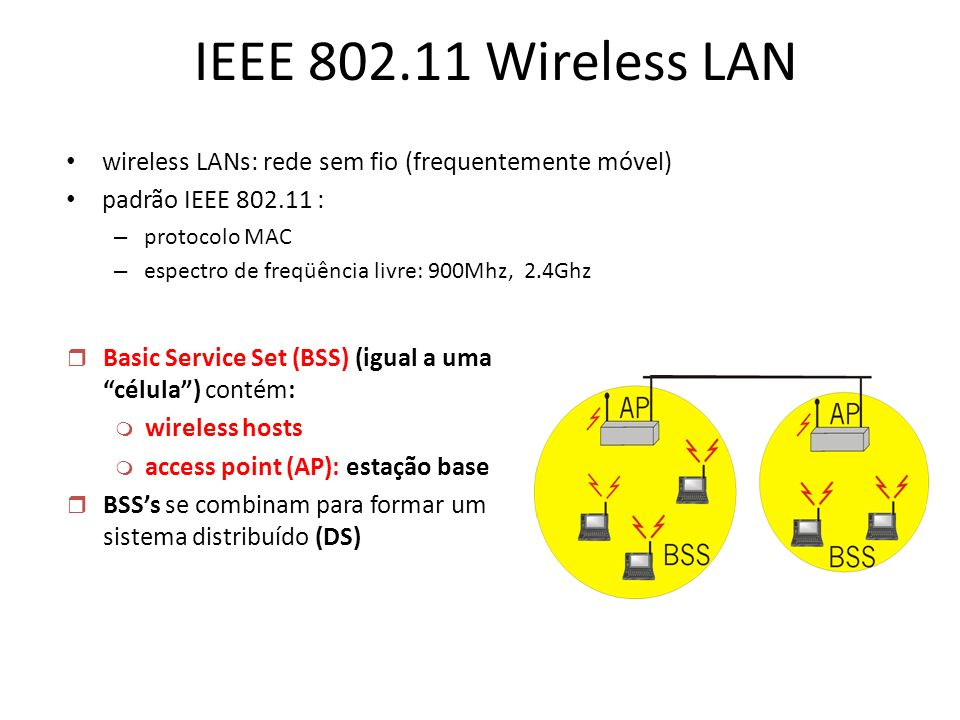 IEEE 802.11 Wireless LAN wireless LANs: rede sem fio (frequentemente móvel) padrão IEEE 802.11 : – protocolo MAC – espectro de freqüência livre: 900Mh