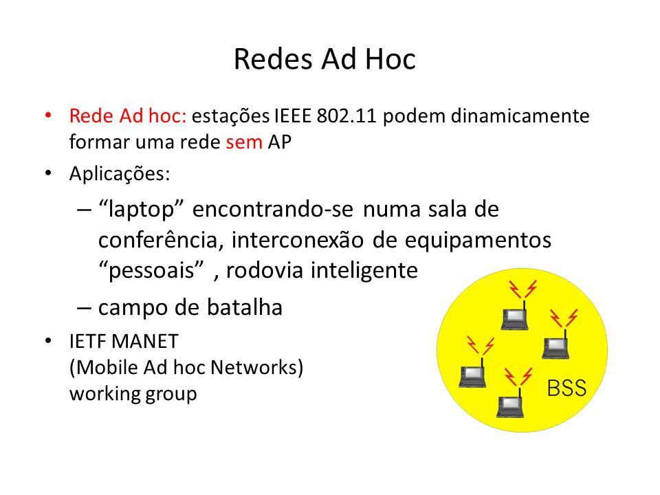 Redes Ad Hoc Rede Ad hoc: estações IEEE 802.11 podem dinamicamente formar uma rede sem AP Aplicações: – laptop encontrando-se numa sala de conferência