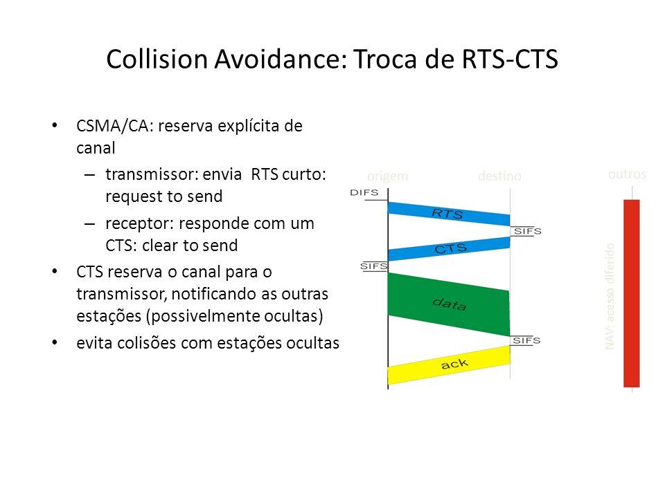 Collision Avoidance: Troca de RTS-CTS CSMA/CA: reserva explícita de canal – transmissor: envia RTS curto: request to send – receptor: responde com um