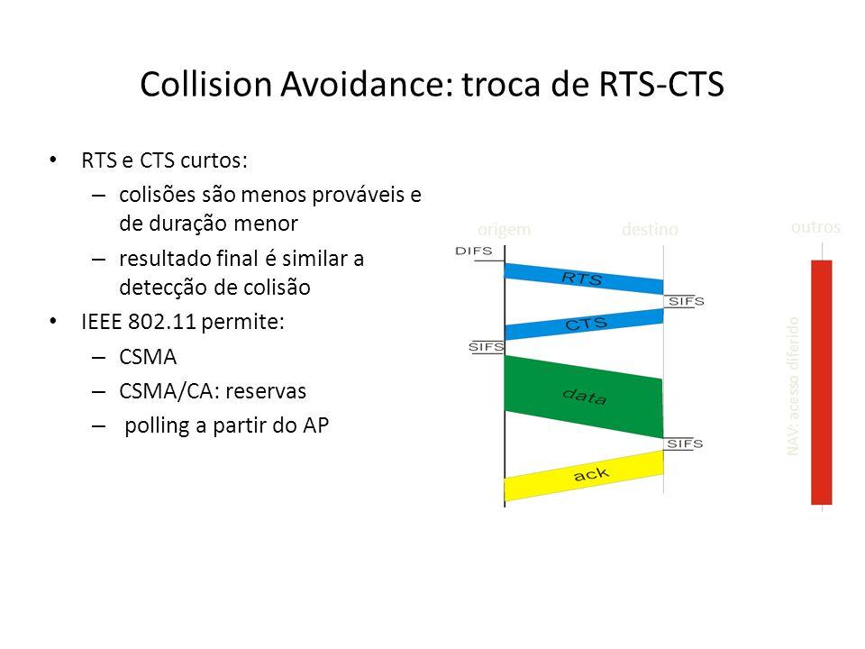 Collision Avoidance: troca de RTS-CTS RTS e CTS curtos: – colisões são menos prováveis e de duração menor – resultado final é similar a detecção de co