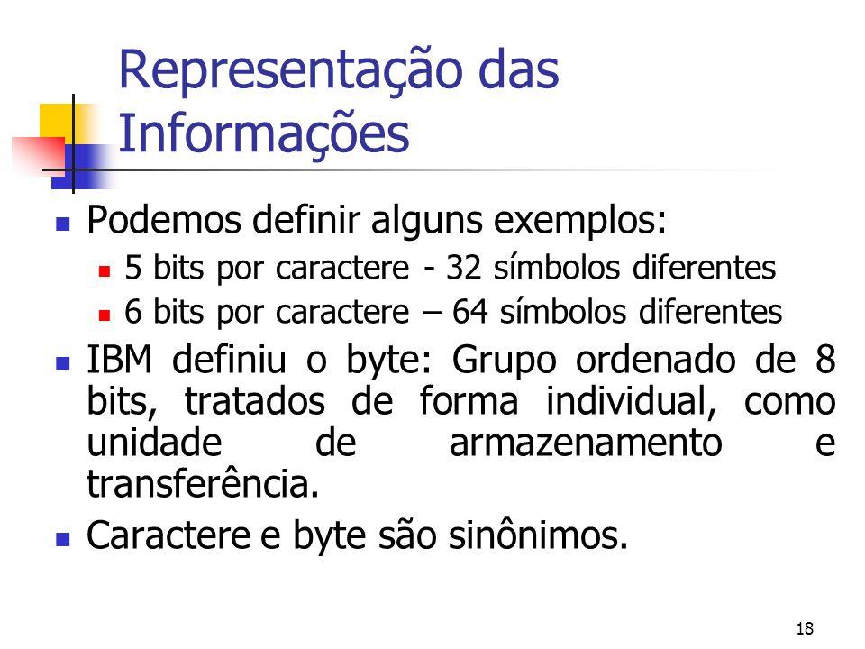 18 Representação das Informações Podemos definir alguns exemplos: 5 bits por caractere - 32 símbolos diferentes 6 bits por caractere – 64 símbolos dif