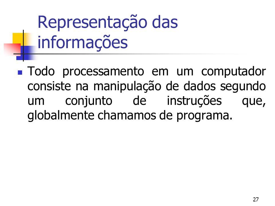 27 Representação das informações Todo processamento em um computador consiste na manipulação de dados segundo um conjunto de instruções que, globalmen