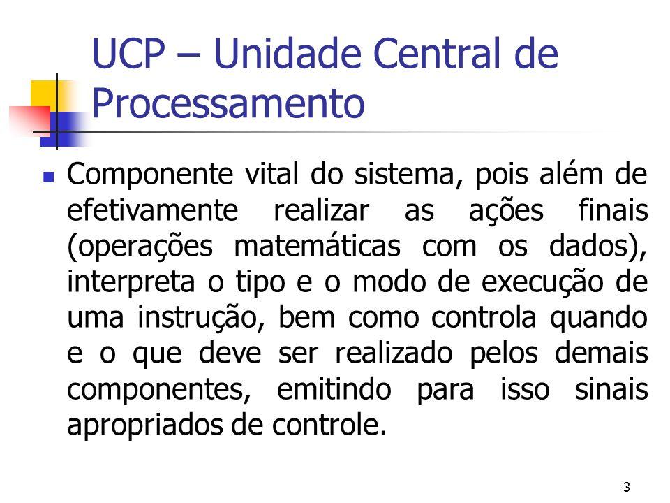 3 UCP – Unidade Central de Processamento Componente vital do sistema, pois além de efetivamente realizar as ações finais (operações matemáticas com os