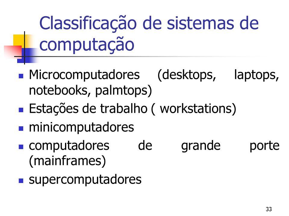 33 Classificação de sistemas de computação Microcomputadores (desktops, laptops, notebooks, palmtops) Estações de trabalho ( workstations) minicomputa