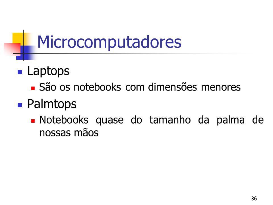 36 Microcomputadores Laptops São os notebooks com dimensões menores Palmtops Notebooks quase do tamanho da palma de nossas mãos