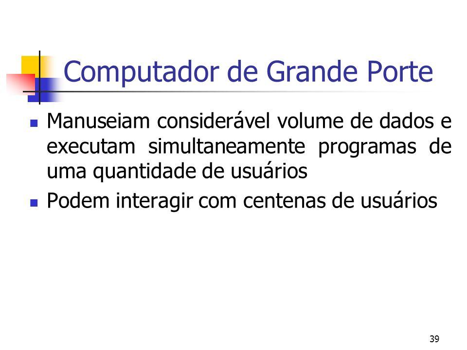 39 Computador de Grande Porte Manuseiam considerável volume de dados e executam simultaneamente programas de uma quantidade de usuários Podem interagi
