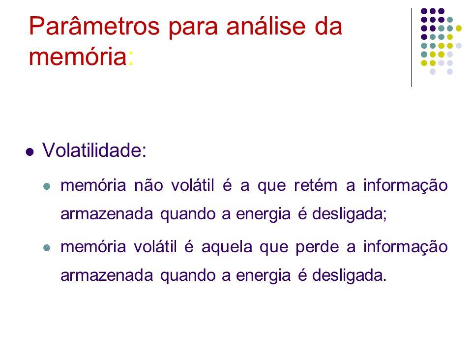Parâmetros para análise da memória: Volatilidade: memória não volátil é a que retém a informação armazenada quando a energia é desligada; memória volá