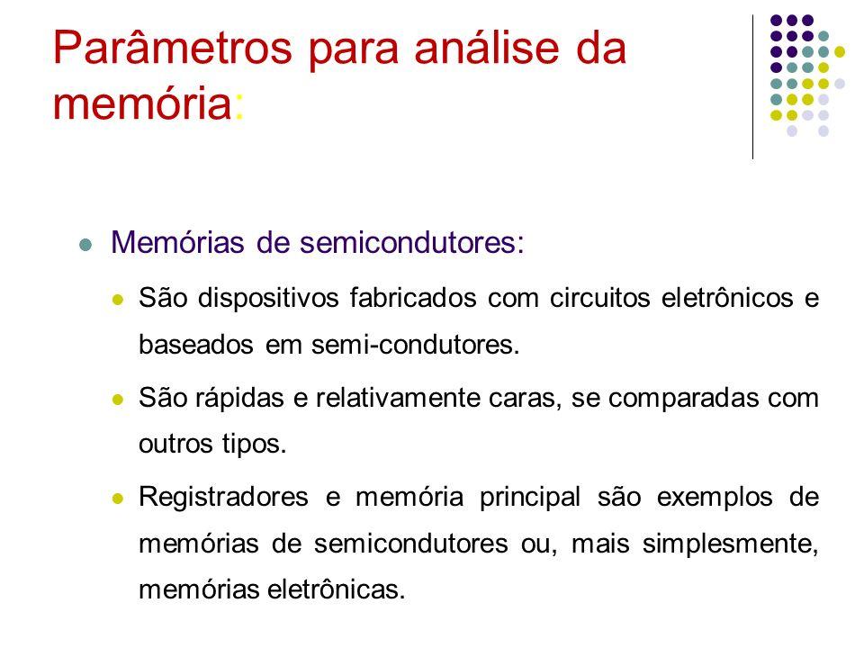 Parâmetros para análise da memória: Memórias de semicondutores: São dispositivos fabricados com circuitos eletrônicos e baseados em semi-condutores. S