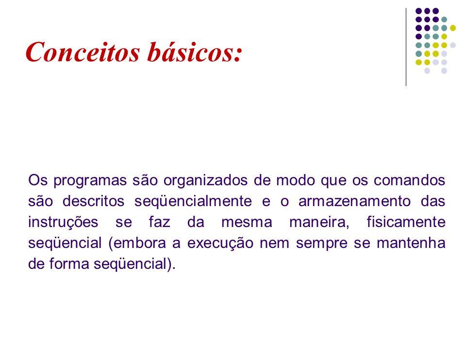 Conceitos básicos: Os programas são organizados de modo que os comandos são descritos seqüencialmente e o armazenamento das instruções se faz da mesma