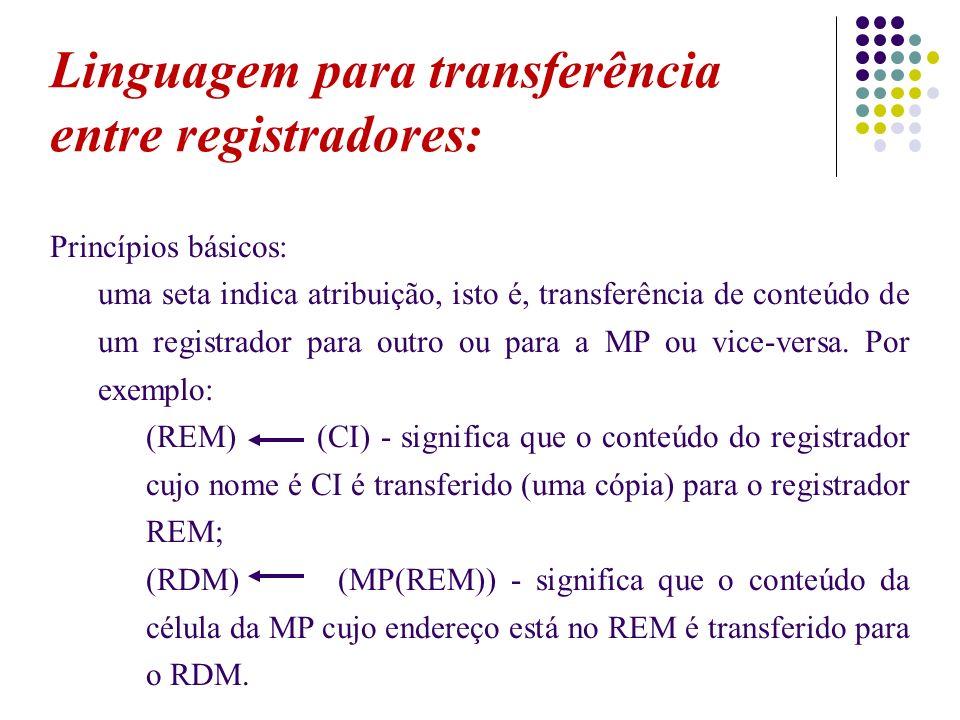 Linguagem para transferência entre registradores: Princípios básicos: uma seta indica atribuição, isto é, transferência de conteúdo de um registrador