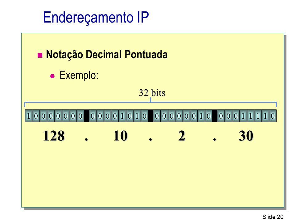 Slide 20 Endereçamento IP Notação Decimal Pontuada Exemplo: 10000000000010100000001000011110 32 bits 12810230...