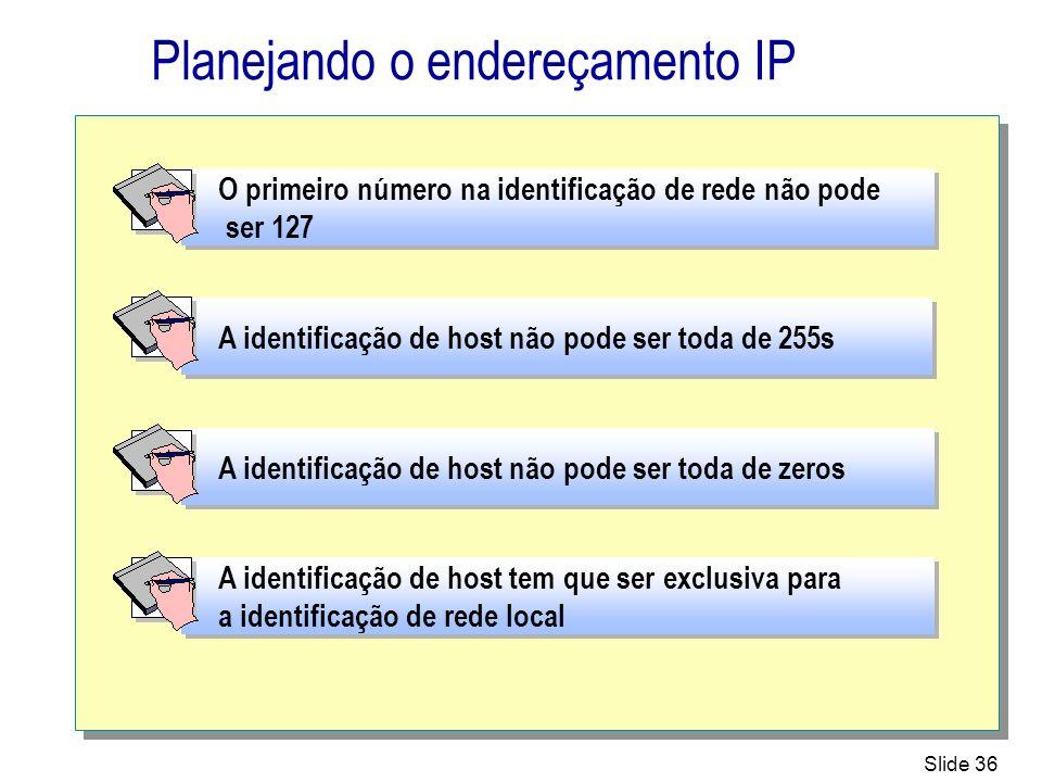 Slide 36 Planejando o endereçamento IP A identificação de host não pode ser toda de zeros A identificação de host não pode ser toda de 255s O primeiro
